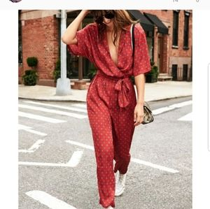 Urban Outfitters Red Silky Bezel Jumpsuit